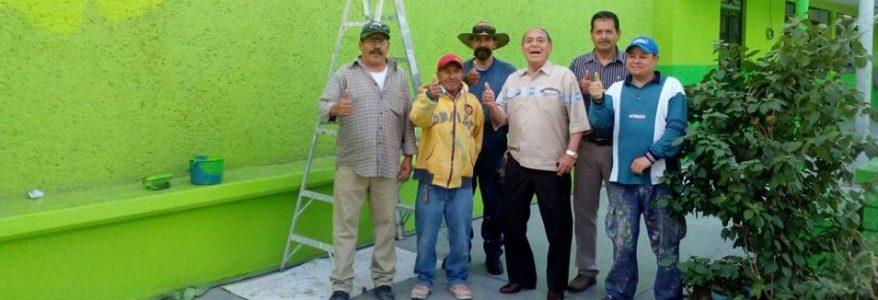 Supervisión del Presidente de los Trabajos de pintura en diferentes instituciones educativas