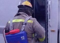 Proteccion Civil Sanitiza los camiones de transporte de las comunidades