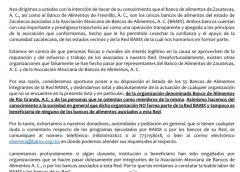 NO RECONOCE LA RED DE BANCOS DE ALIMENTOS DE MÉXICO AL BANCO DE ALIMENTOS DE RÍO GRANDE